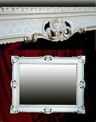 Wall Mirror White Gold Shabby Chic Antique Decode Baroque Rococo 90x70 Deco