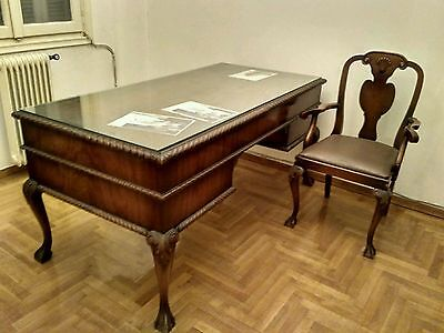 Home office vintage furniture set of desk, bookcase and armchair