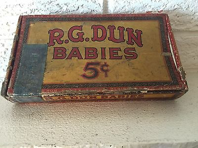 Vintage 1930's R.G. Dun Babies 5 Cents Cigar Box, #670 Dist. Michigan Tax Stamp