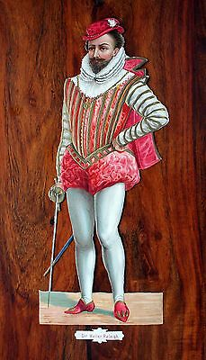 Giant Victorian Die Cut Embossed Scrap Sir Walter Raleigh 13 By 31 Cm