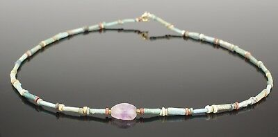 Beautiful Ancient Egyptian New Kingdom Faience Bead & Amethyst Scarab Necklace 1