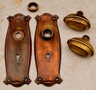 A Pair of Copper Art Nouveau Finger Plates and Door Handles/ Knobs c.1900