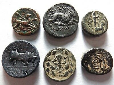 Lot of 6 Higher Quality Ancient Greek Coins: Lion, Goat, Bull, 23.5 Grams!