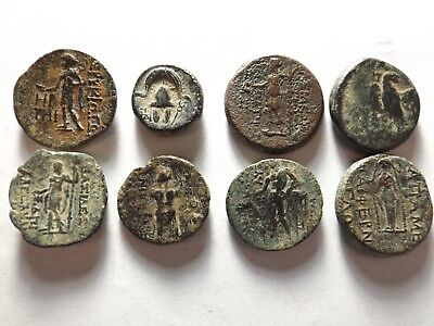 Lot of 8 Higher Quality Ancient Greek Coins: 52.8 Grams!