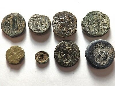 Lot of 8 Quality Ancient Greek Coins: Sphynx, Owl, 36.8 Grams!
