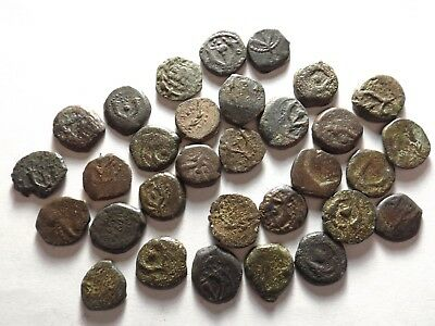 Lot of 30 Low Quality Ancient Greek Coins: Judaean - Macabee, 55.3 Grams!