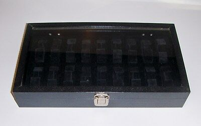 18pc Black Watch Case/Tray With Glass Top