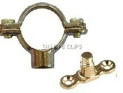 10 x 22mm Brass Single Munsen Ring & Male Backplate - Pipe Clips supports