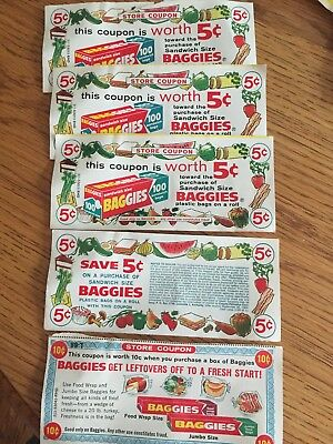 Lot of 5 vintage store baggies coupons