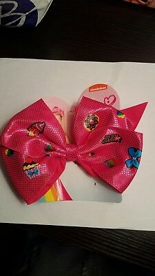 JoJo Siwa Pink Emoji Hair Bow Ponytail Holder Cheer Dance  NWT Large