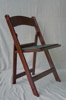4 Commercial Resin Folding Chairs Stackable Chair Mahogany Color w/Padded Seat