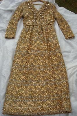 1960's All Gold Beaded & Pearl Dress / Gown  Bob Mackie Designer