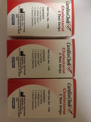 CardioChek Cholesterol Test Strips 3 ea (Pack Of 3 Boxes) HoT Exp: 12/04/2018