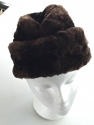 Vtg North King JJ Seifter & Sons NYC Brown Beaver Fur Hat Ear Flaps Union Medium
