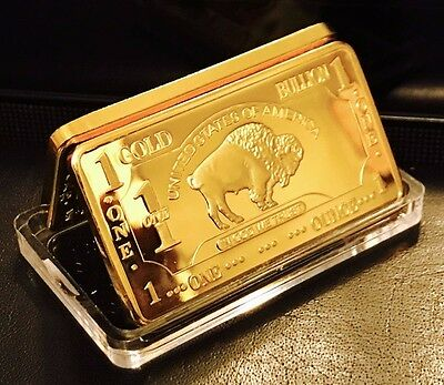"1 TROY OUNCE ""CLASSIC BUFFALO"".999 24kt GOLD BULLION novelty bar/ fast delivery!"