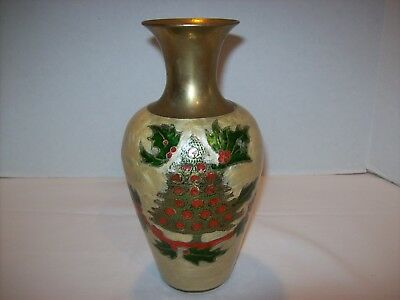 """Solid Brass Cloisonne Hand Painted Enamel Christmas Tree & Holly 8"""" Vase~India"""