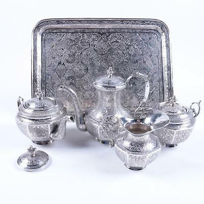 Iranian Hand Etched 800 Solid Silver Coffee and Tea Service Iran 68.63 ozt.