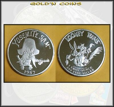 1987 Yosemite Sam Looney Tunes One Oz .999 SILVER troy ounce coin no box - BINo