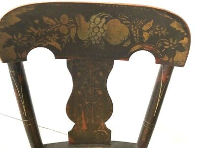 Price reduced - Rare Antique Hitchcock stenciled design Tole chair from Vermont