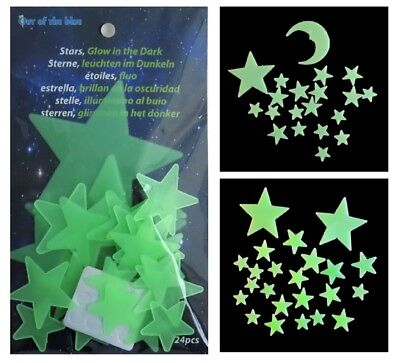 Glow In The Dark Stars Or Stars And Moons Plastic Shapes - Stocking Filler