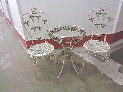 Vintage Bistro Table & 2 Chairs White Paint Strawberry & Flowers Need Glass Top