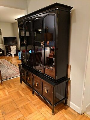 AMERICAN of MARTINSVILLE MCM Hollywood Regency Black Lacquered Hutch