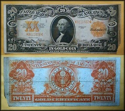 1922 Large Size $20 GOLD CERTIFICATE - No Reserve!