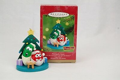 Hallmark Veggie Tales Waiting for Santa 2001 Larry Bob Christmas Ornament
