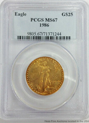 1986 $25 Twenty Five Dollar Gold Eagle PCGS MS67 American US Mint Coin