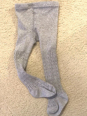 Rising Star Infant  Cotton Knit Tights SILVER Sparkle  Size18-24 Months