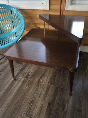 Mid Century 2 Tier End Side Corner Coffee Table Square Large Wood Formica Large