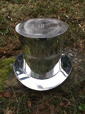 """HTF, Authentic """"Lord & Taylor"""" Silver-plate Top Hat Ice Bucket."""