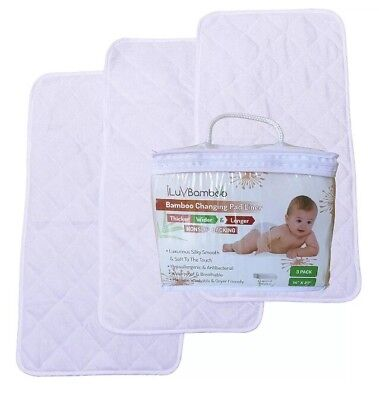 Baby Changing Pad Liner Liners Bamboo x 3 Waterproof Baby iLuvBamboo Non-toxic
