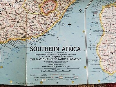 November 1962 National Geographic Map of Southern Africa, Congo, Angola