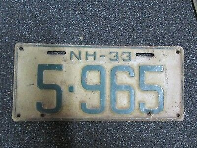 1933 New Hampshire NH License Plate 5965