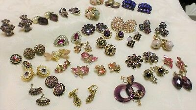 Vintage Lot Of 32 Pair Pink And Purple Earrings