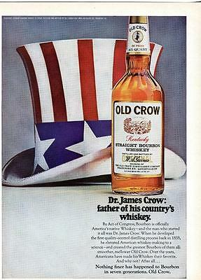 Old Crow Whiskey Ad Dr. James Crow Father Of His Countrys Whiskey Red White Blue
