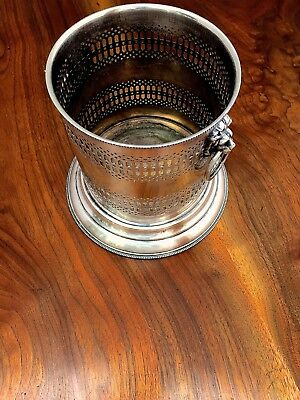 American Silverplate Wine Cooler / Bottle Holder with Lion & Ring Handles