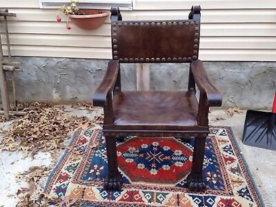 Antique Solid Walnut French Empire Chair Hand Carved