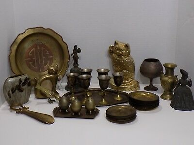 Vintage 54 Pc Mixed Brass Plate Coasters Vases Door Stop Frame Bell Figures