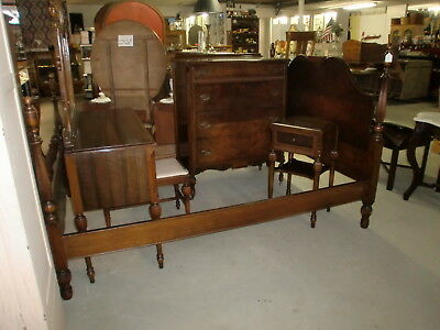 Walnut Bedroom Suite Vanity Stool Chest Full Size Poster Twist Bed Stand NICE!