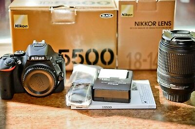 Nikon D D5500 24.2MP Digital SLR Camera - Black (Kit w/ VR 18-140mm Lens)