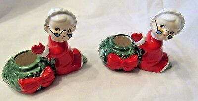 Lefton Mrs. Santa Claus  Granny Candle Holders #2023.  Holly Berry Red Bow