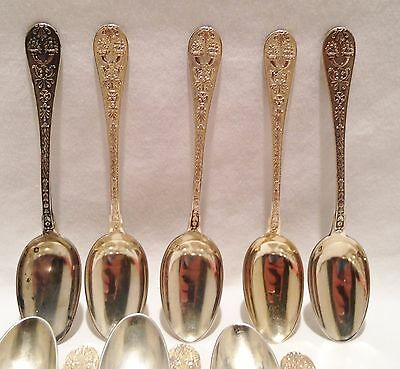 11 - Rare 19th C.French Henin & Cie Ornate Sterling Renaissance Gilded Spoons