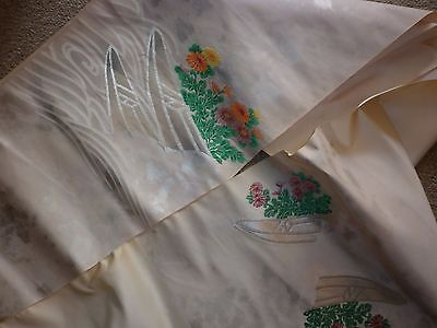 Vintage Japanese Embroidered Cream Silk Bridal Sash Fabric Excellent  Condition