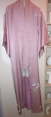 Vintage Japanese Dust Pink Floral Silk Kimono Great Condition