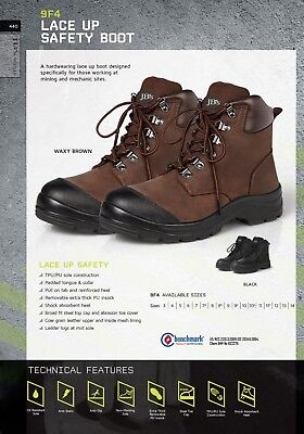 JB's wear Lace Up Safety Boot with Broad fit Steel Toe Cap Mining Mechanic 9F4