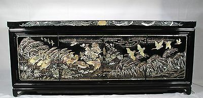 Korean Wood Chest, Lacquer Mother of Pearl, Korea, Vintage Post 1940 Furniture