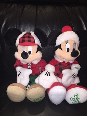 DISNEY Mickey Mouse & Minnie Plush Limited Ed. 2017 Christmas ~ NEW ~ Ships Fast
