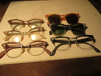 Lot of 6 Pairs of Women's Vintage Eyeglass frames from the 50's